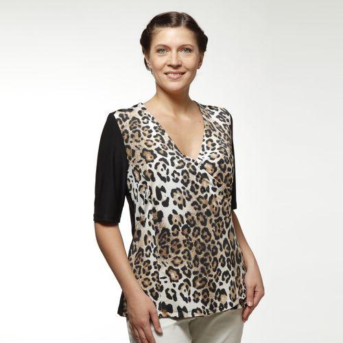 Блуза с коротким рукавом и принтом «леопард»