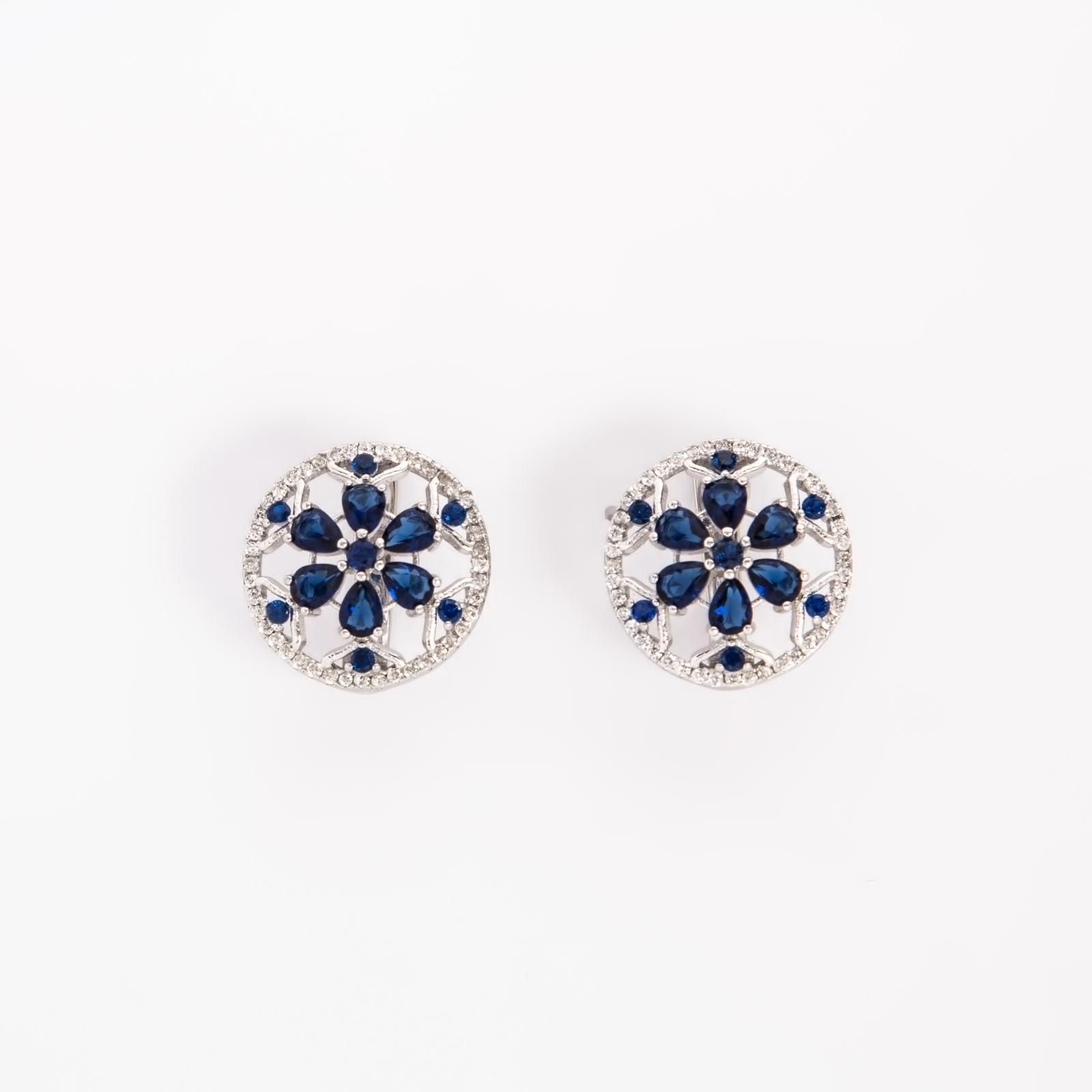 Серебряные серьги «Синий цветок»