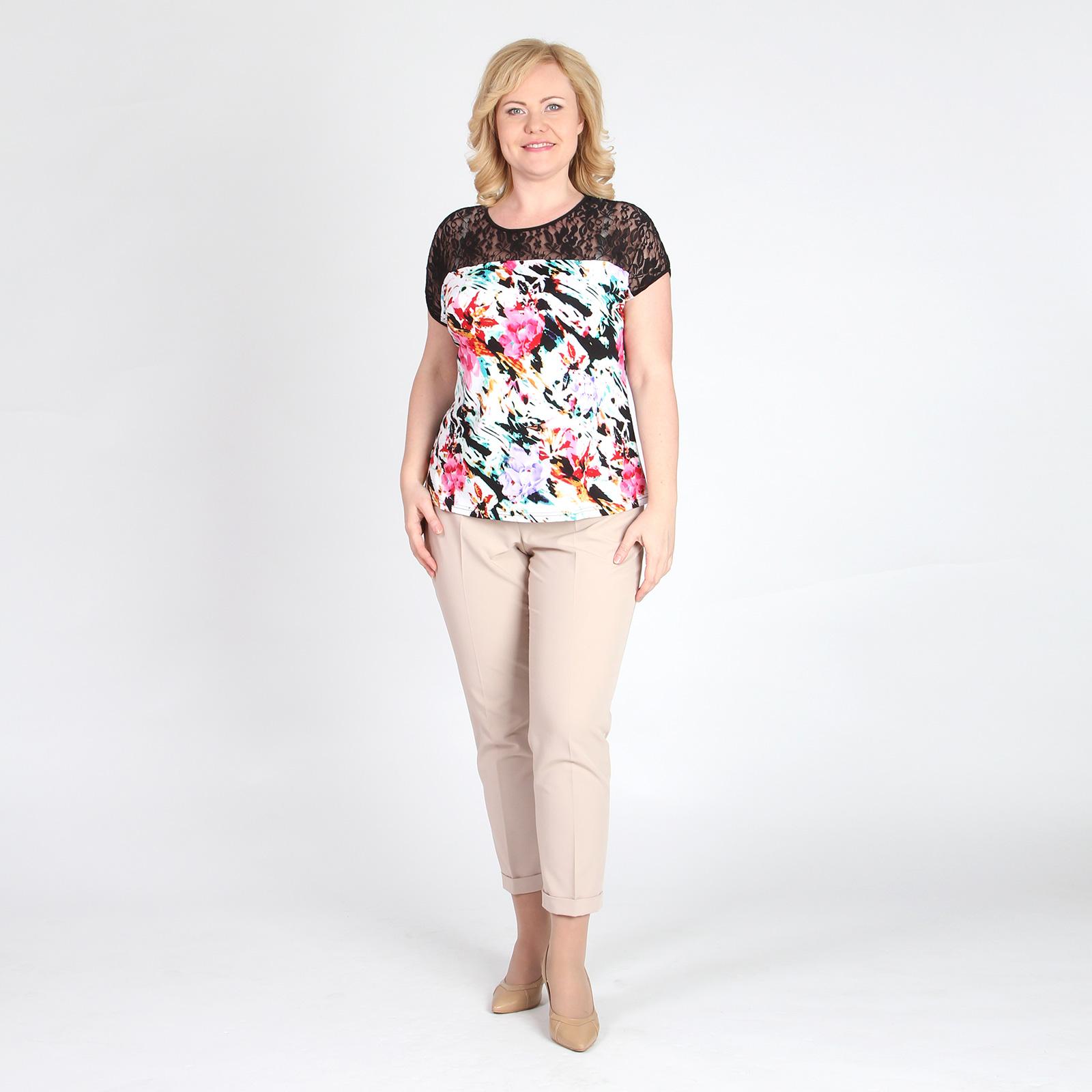 Блуза с ажурной кокеткой и цветочным принтом