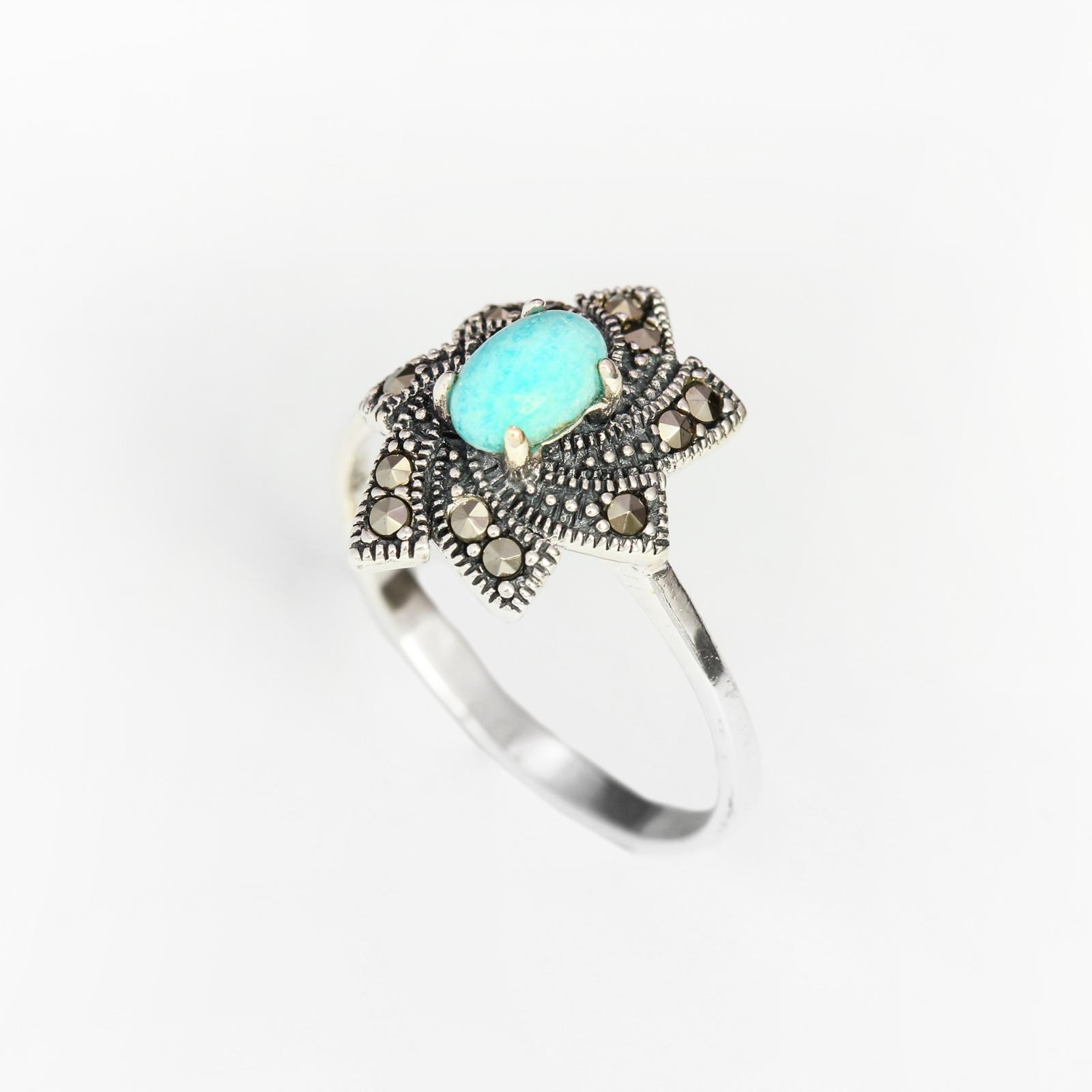 Серебряное кольцо «Амазонитовый цветок»
