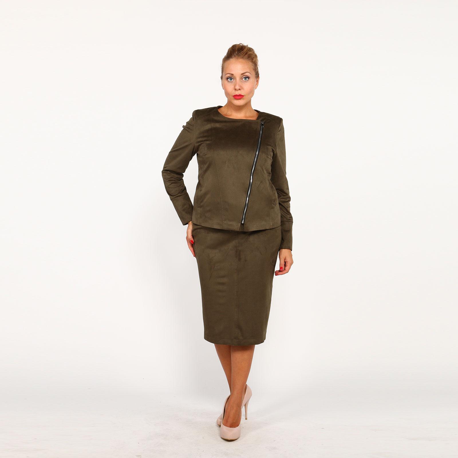 Комплект: куртка и юбка под замшу