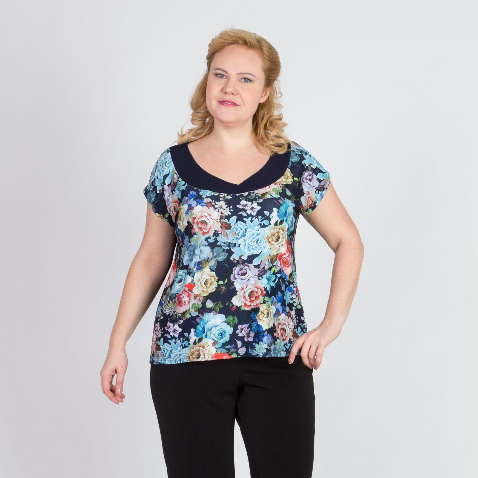 Блуза прямого кроя с принтом «Розы»