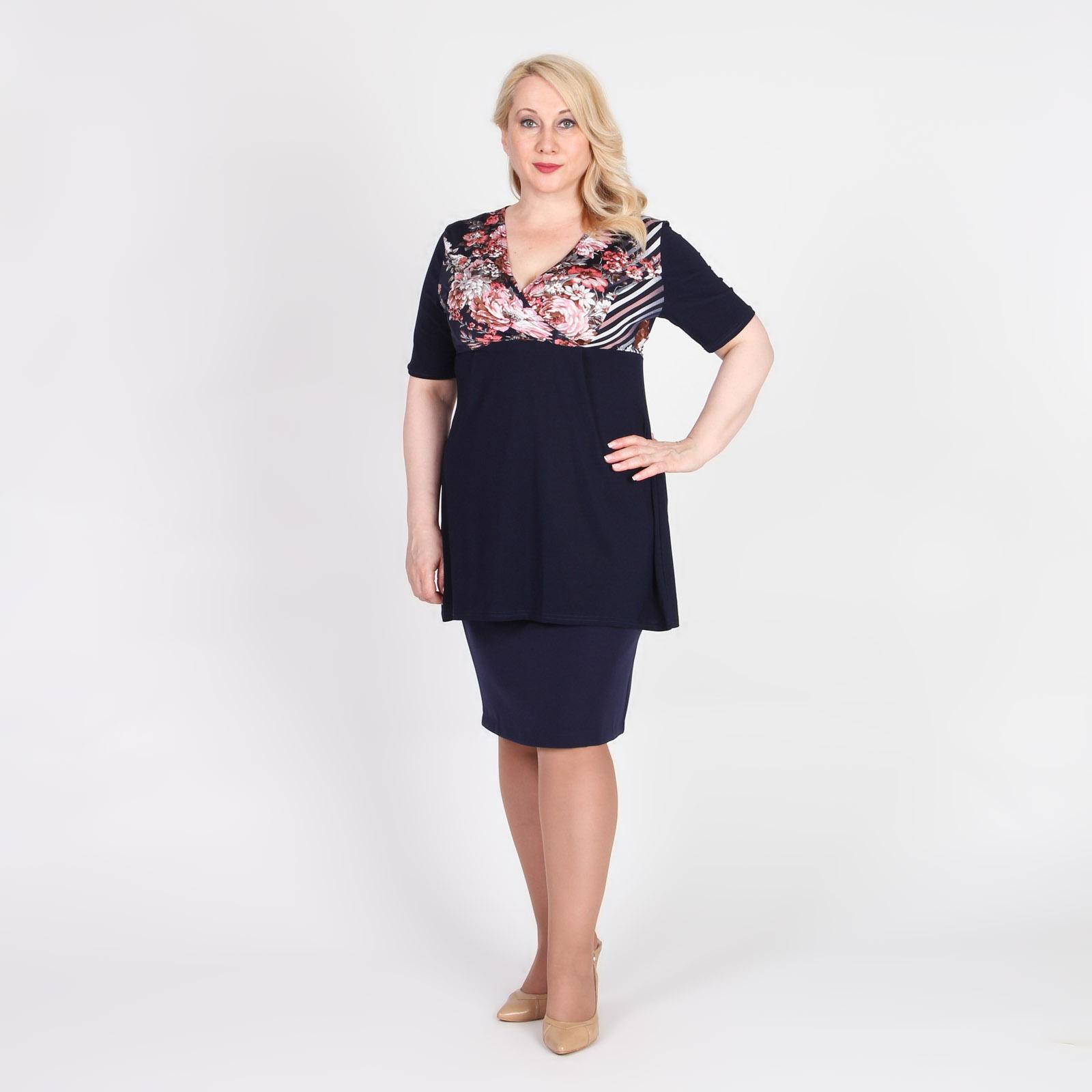 Блуза с завышенной талией и цветочным принтом