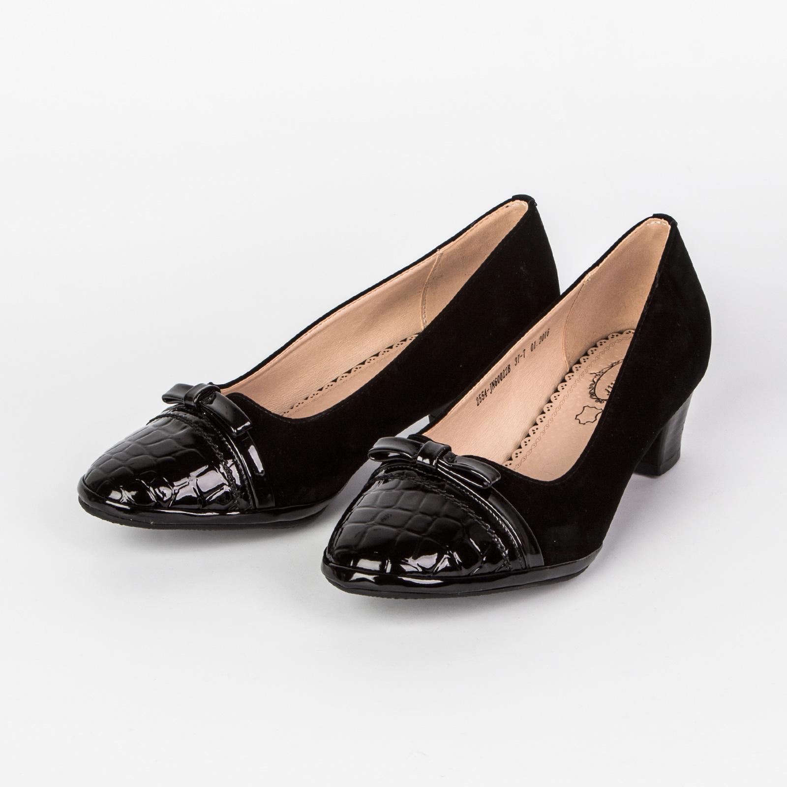 Туфли женские с мысом, декорированным под «рептилию» и бантиком