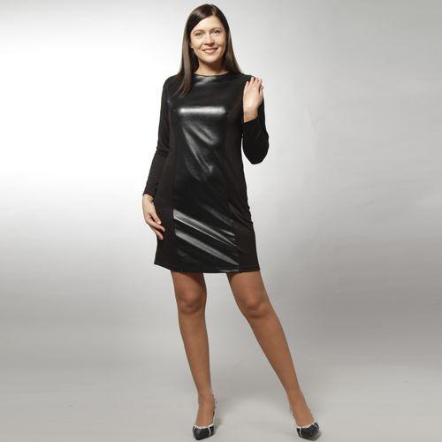Платье ультрамодное со вставкой из экокожи