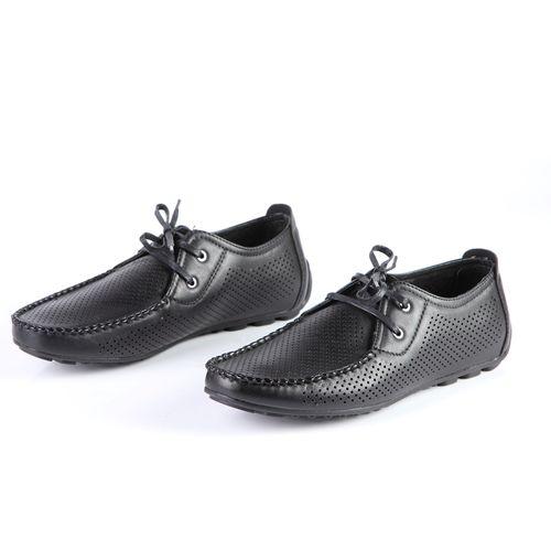 Мокасины мужские на шнуровке с перфорацией и  строчкой