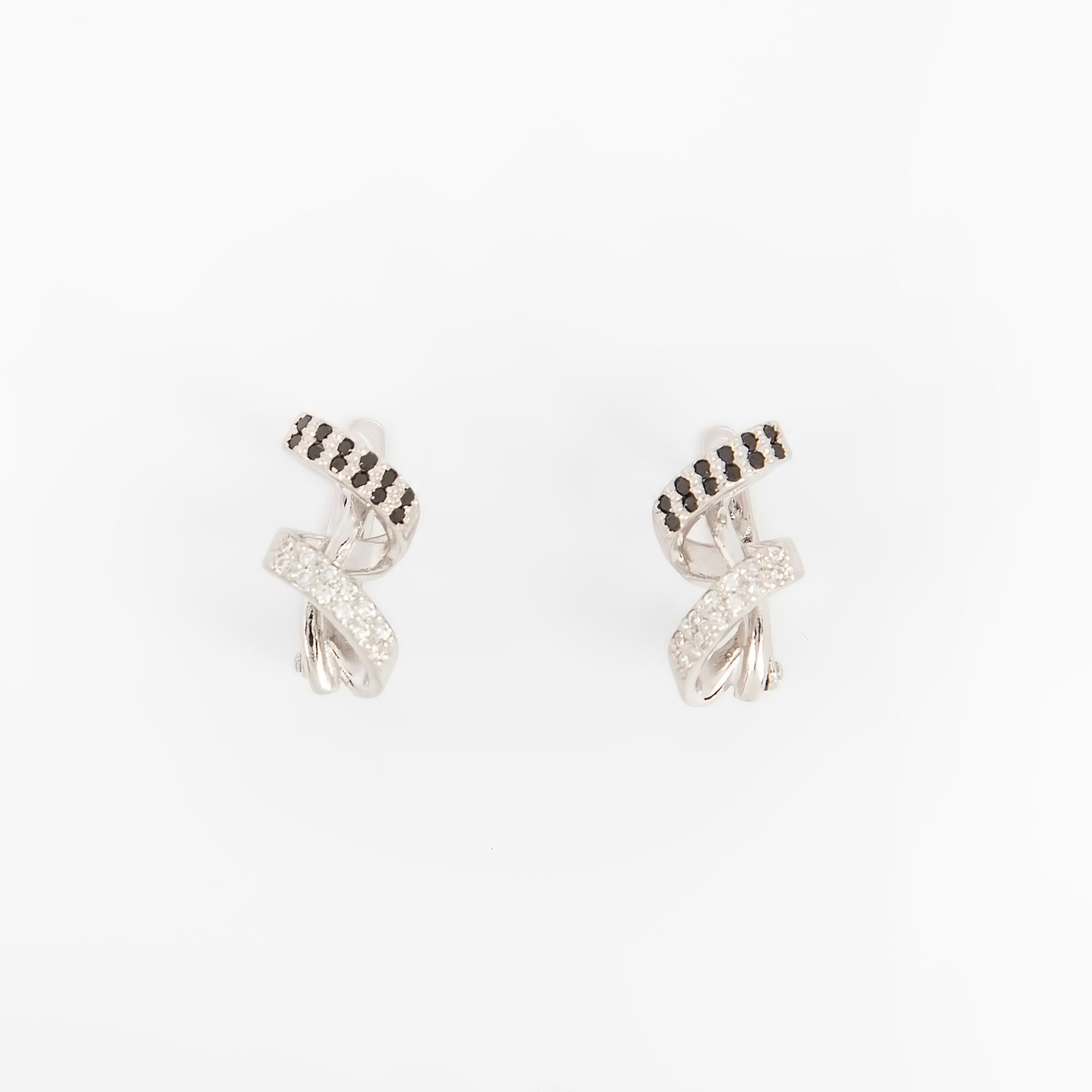 Серебряные серьги «Вихрь фианита»