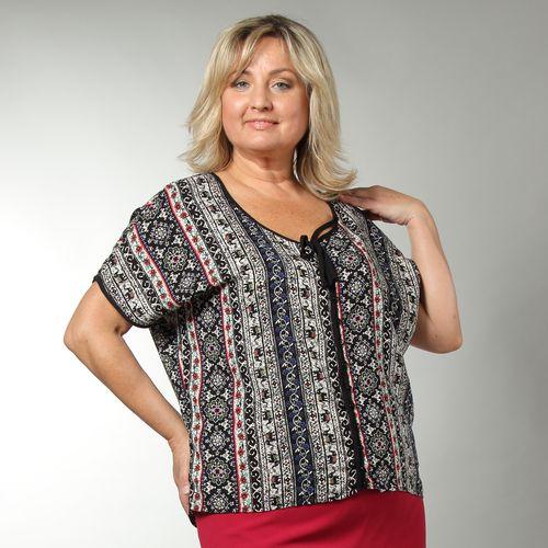Блуза свободного кроя с этническим принтом