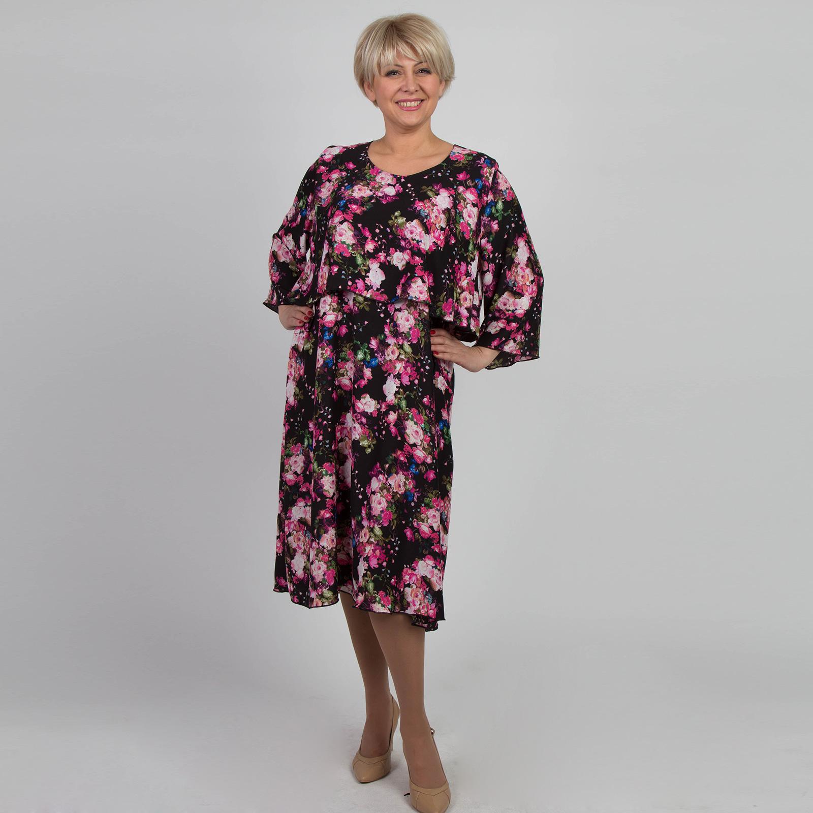 Платье свободного кроя из шифона с цветочным принтом