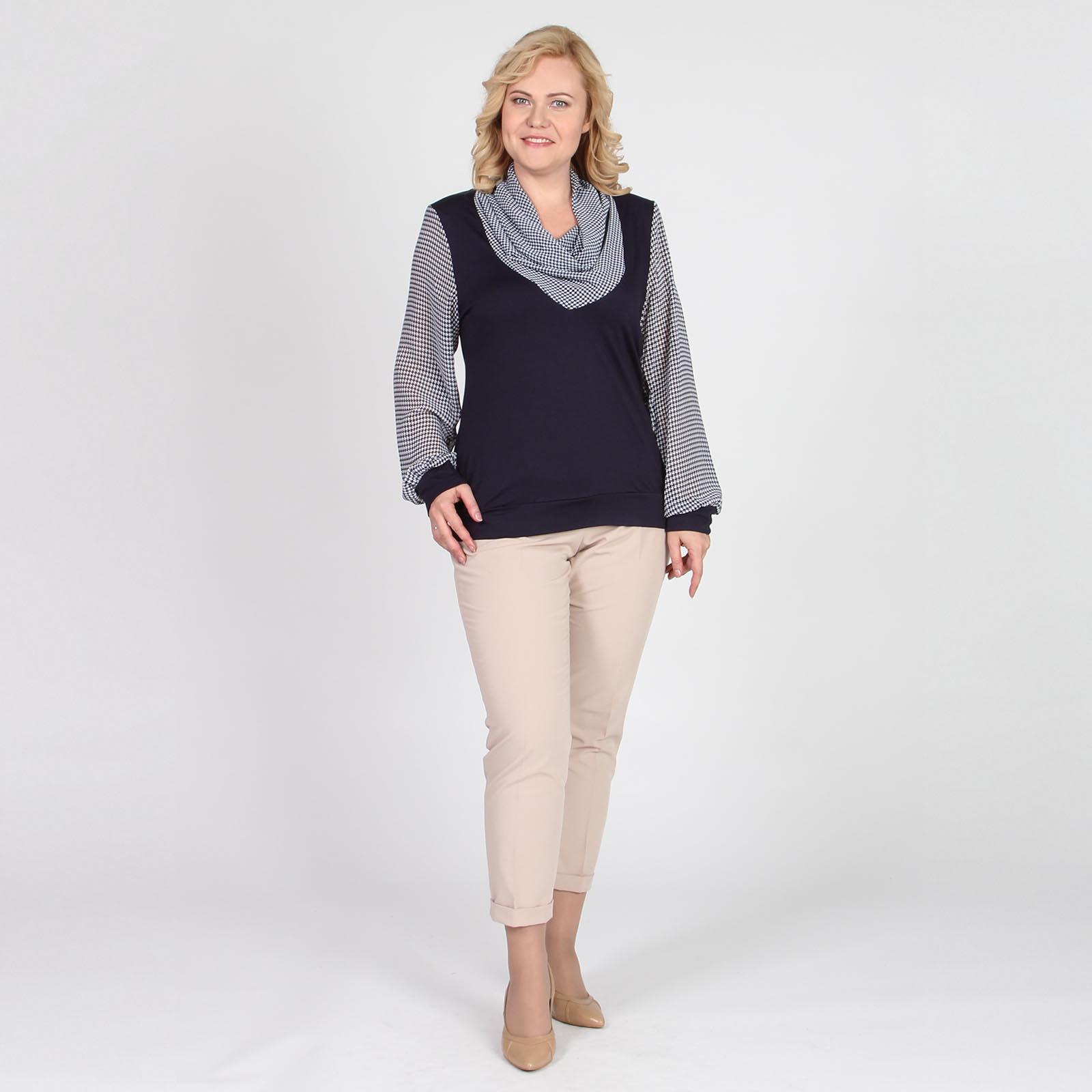 Блуза с шифоновыми рукавами и воротником