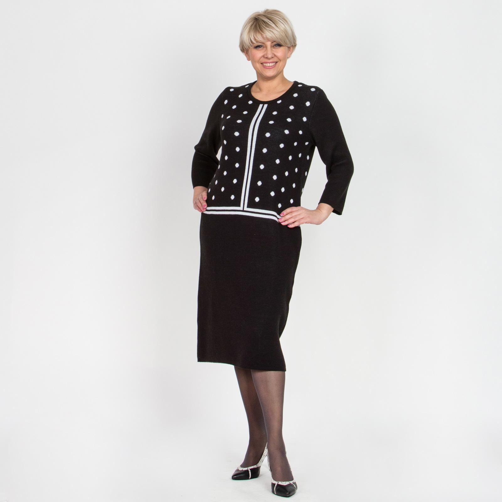 Платье с округлым вырезом и принтом «горошек»