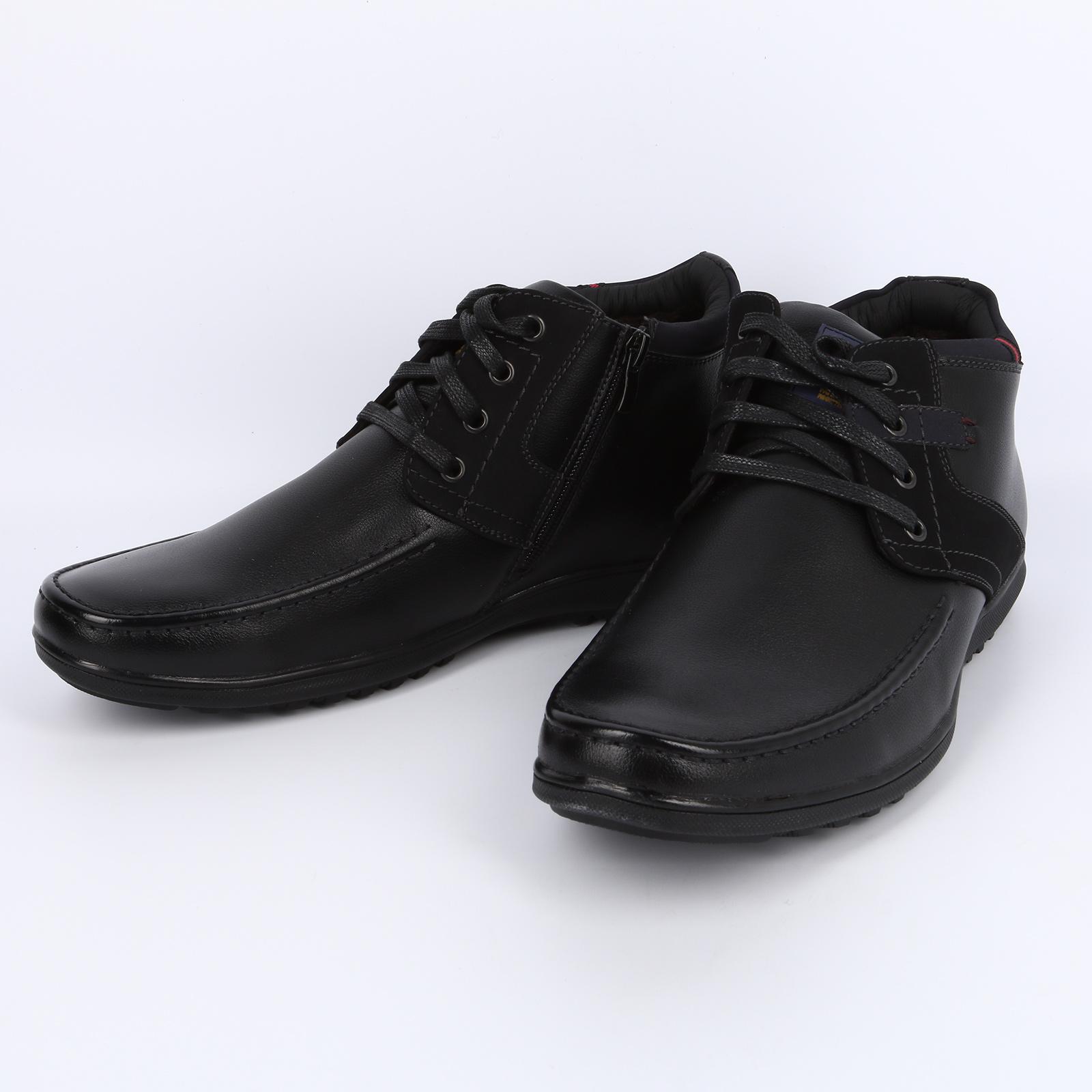 Высокие ботинки со вставкой из нубука