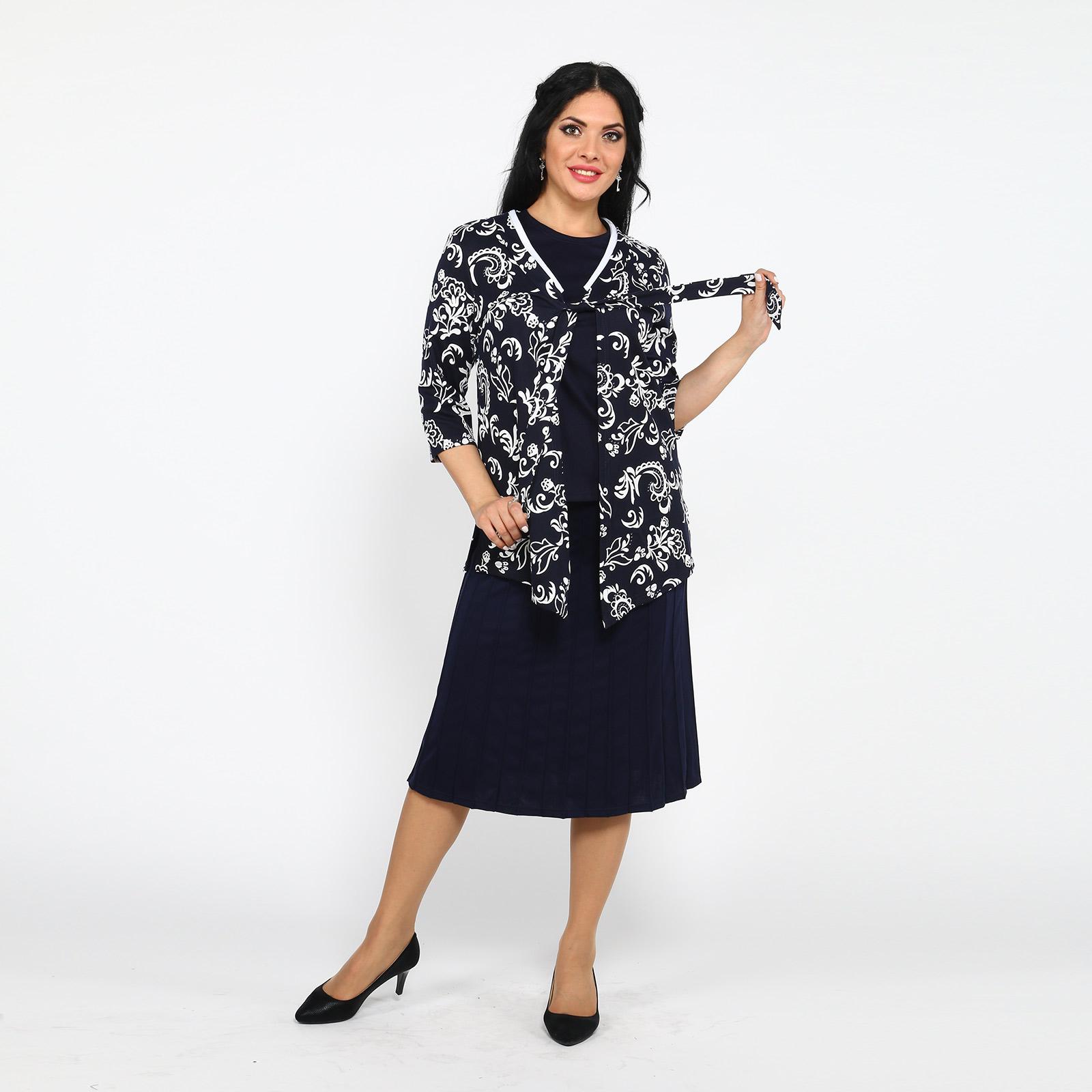 Комплект: кардиган с принтом и блуза