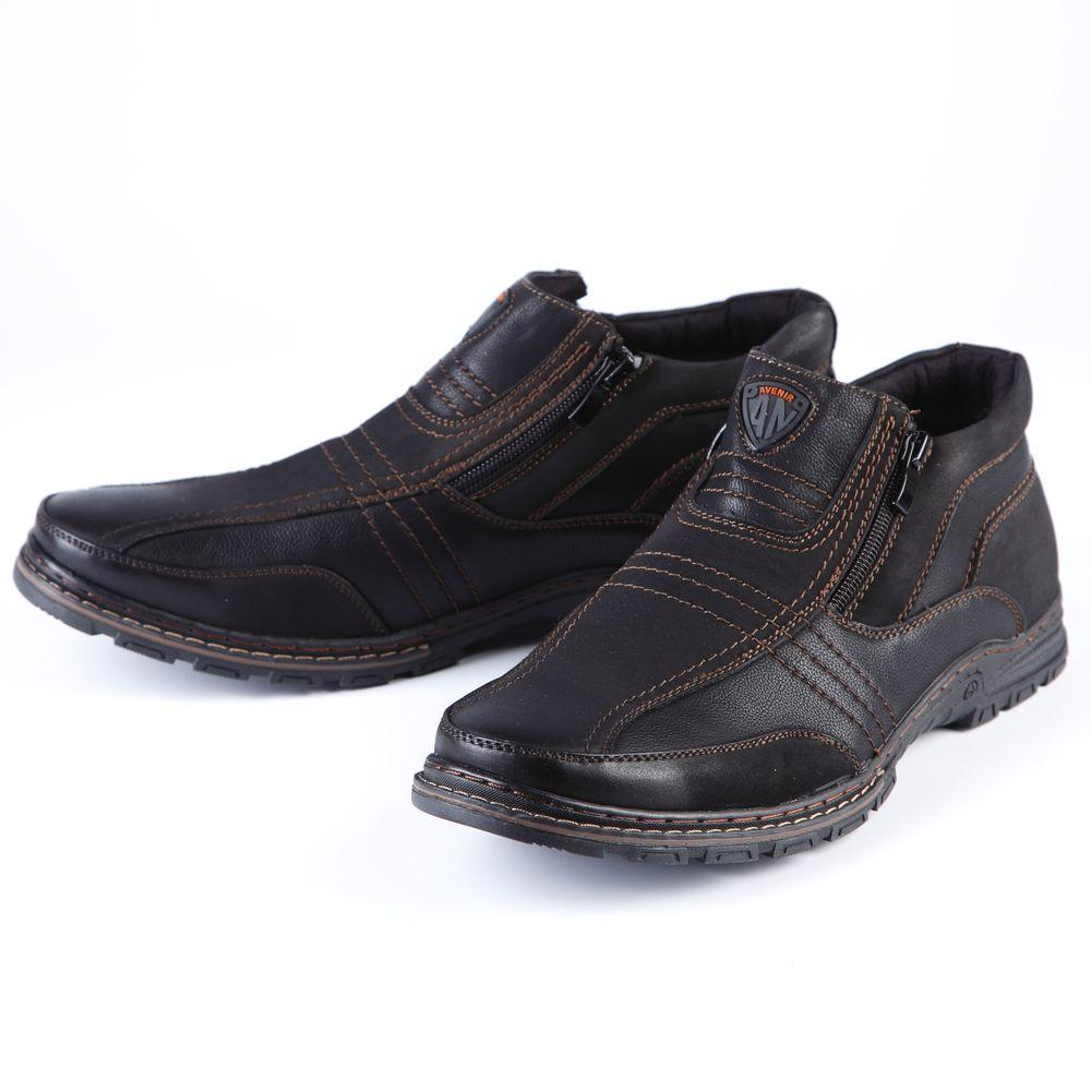 Ботинки мужские на молнии украшенные прострочкой