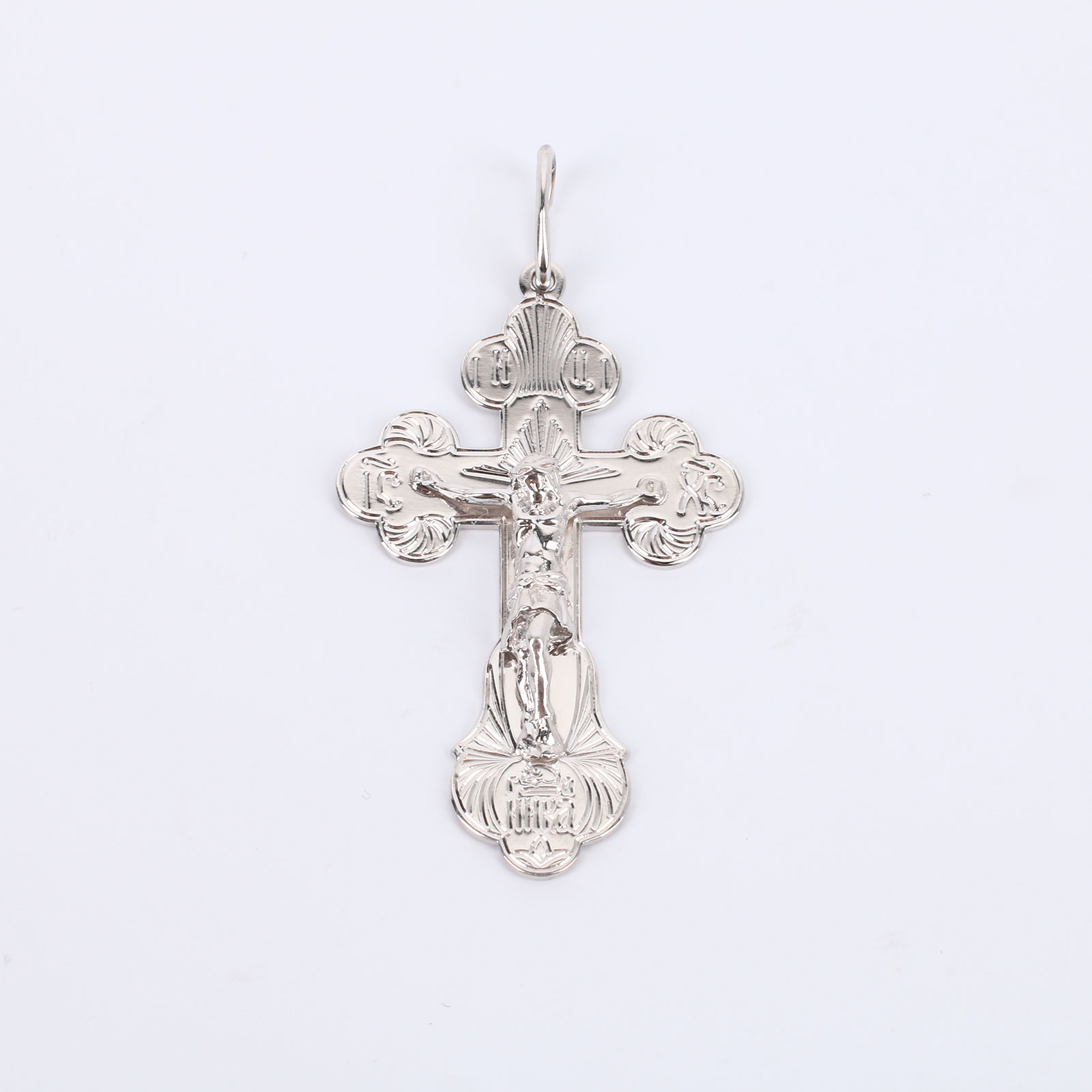 """Серебряный крест с алмазной гранью """"Спаситель"""""""