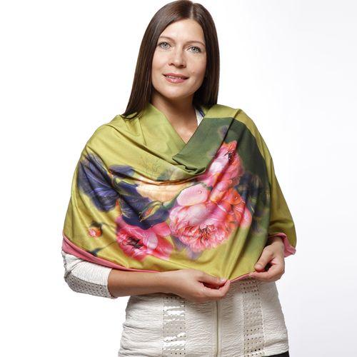 Двойной комбинированный шарф-долька с узелками и цветочным принтом