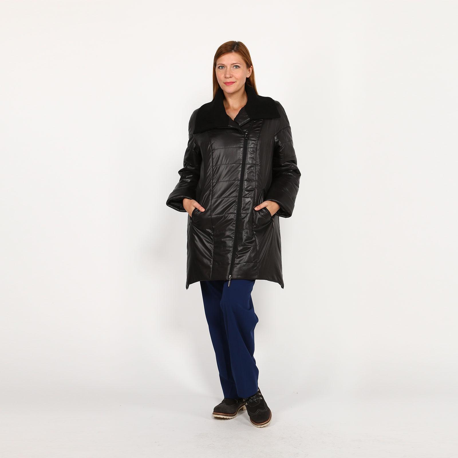 Куртка с косой молнией и вязаным воротником