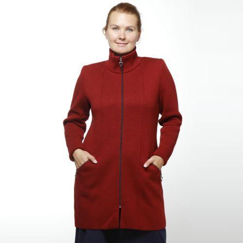 Пальто вязаное на молнии с карманами