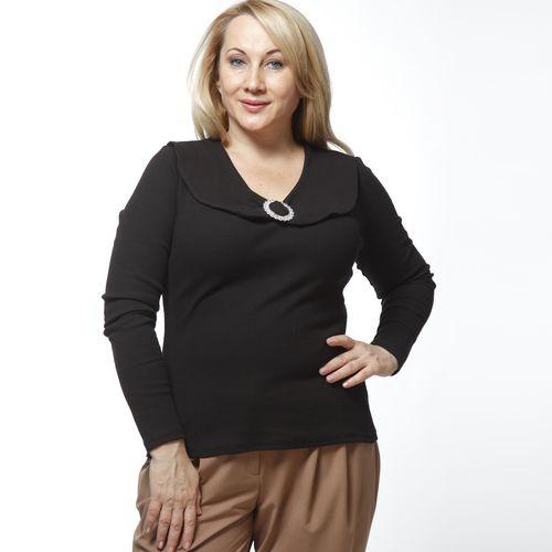 Блуза с отложным воротником и украшением на груди