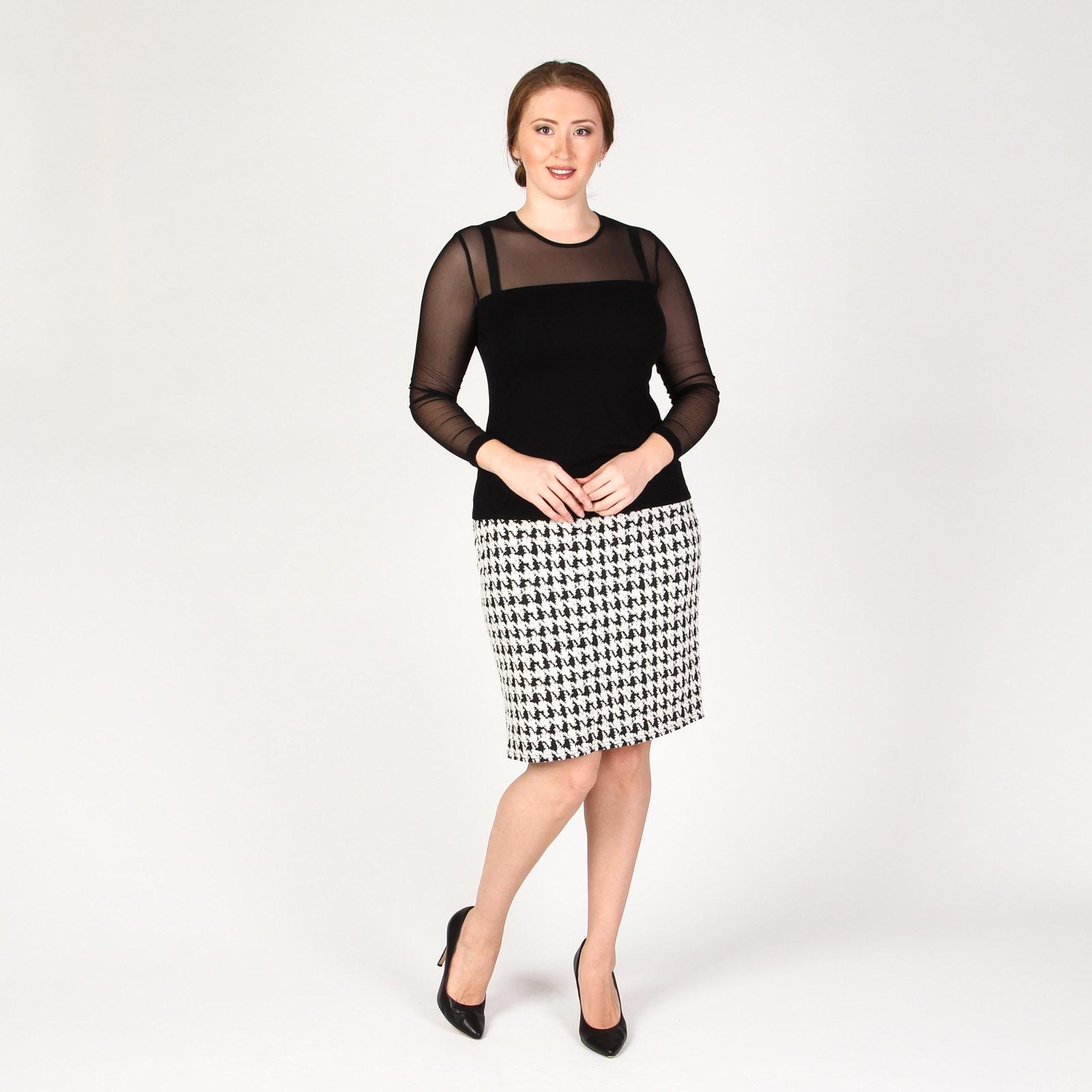 Блуза с прозрачными рукавами и кокеткой