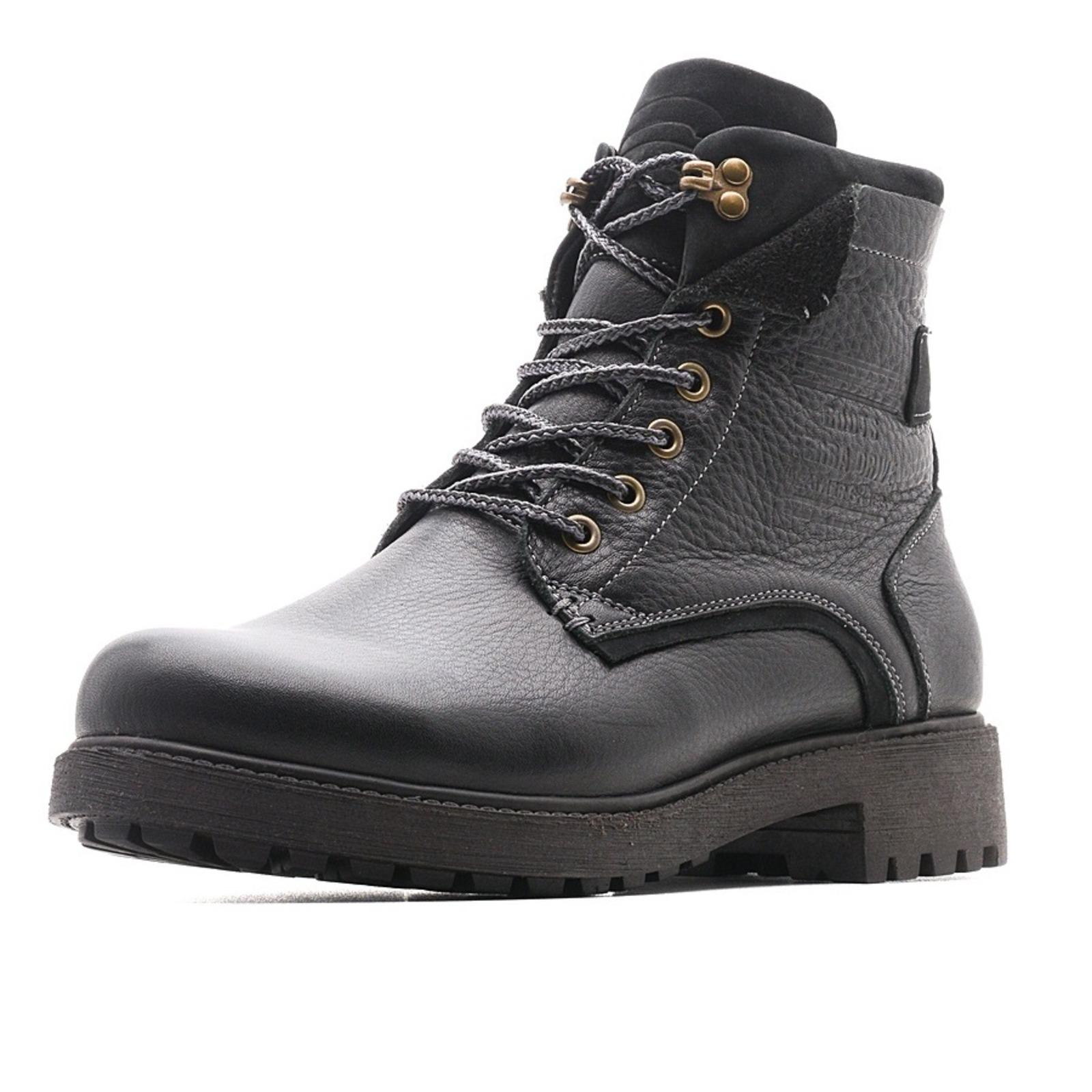 Зимние ботинки на шнуровке со вставками