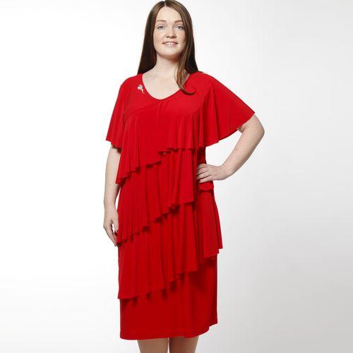 Платье с воланами и V-образным вырезом