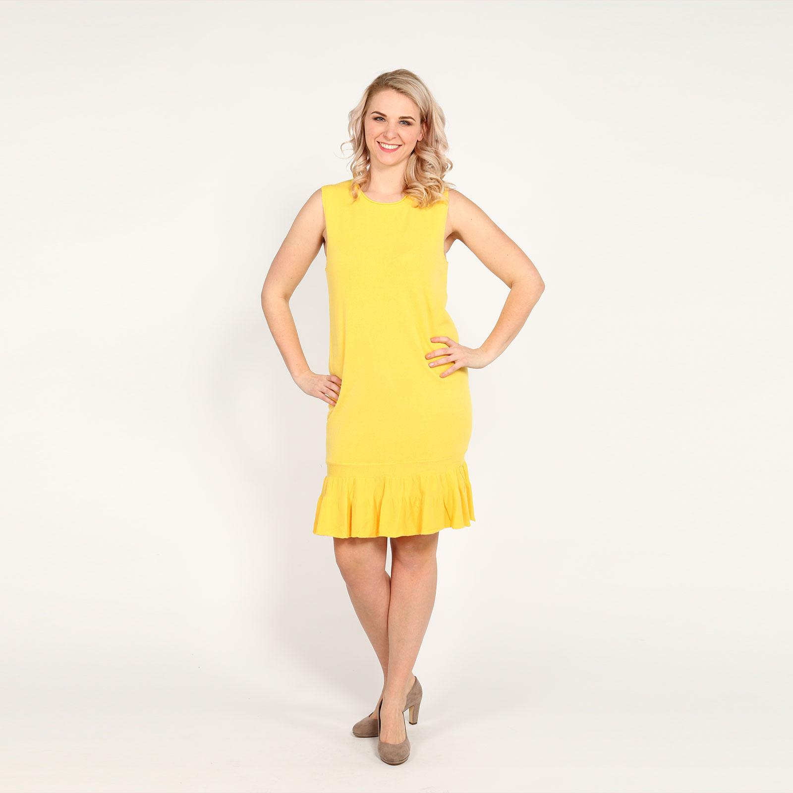 Платье без рукавов с воланом