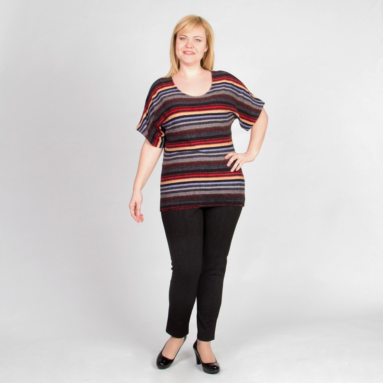 Блуза с коротким рукавом с модным принтом «полоска»