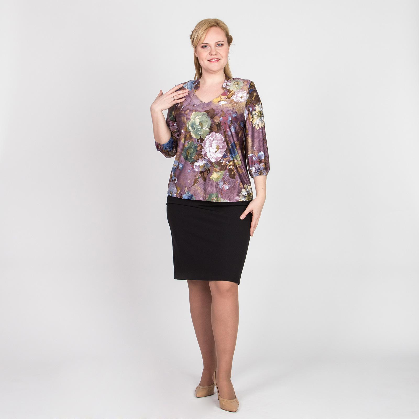 Блуза с рукавом 3/4 и цветочным принтом