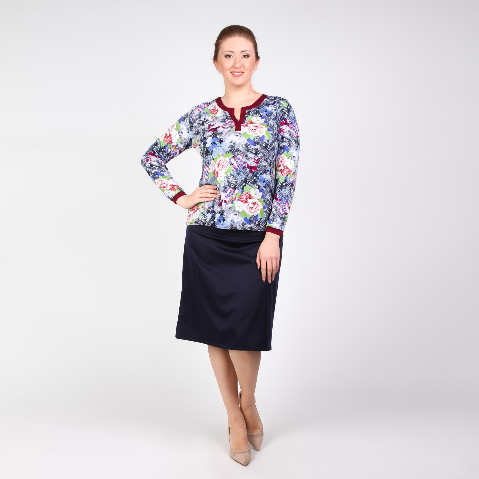 Блуза с длинным рукавом и контрастной окантовкой