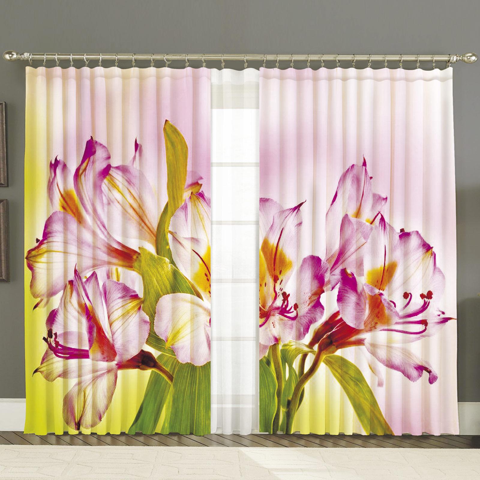 Комплект штор + тюль «Ароматные лилии»