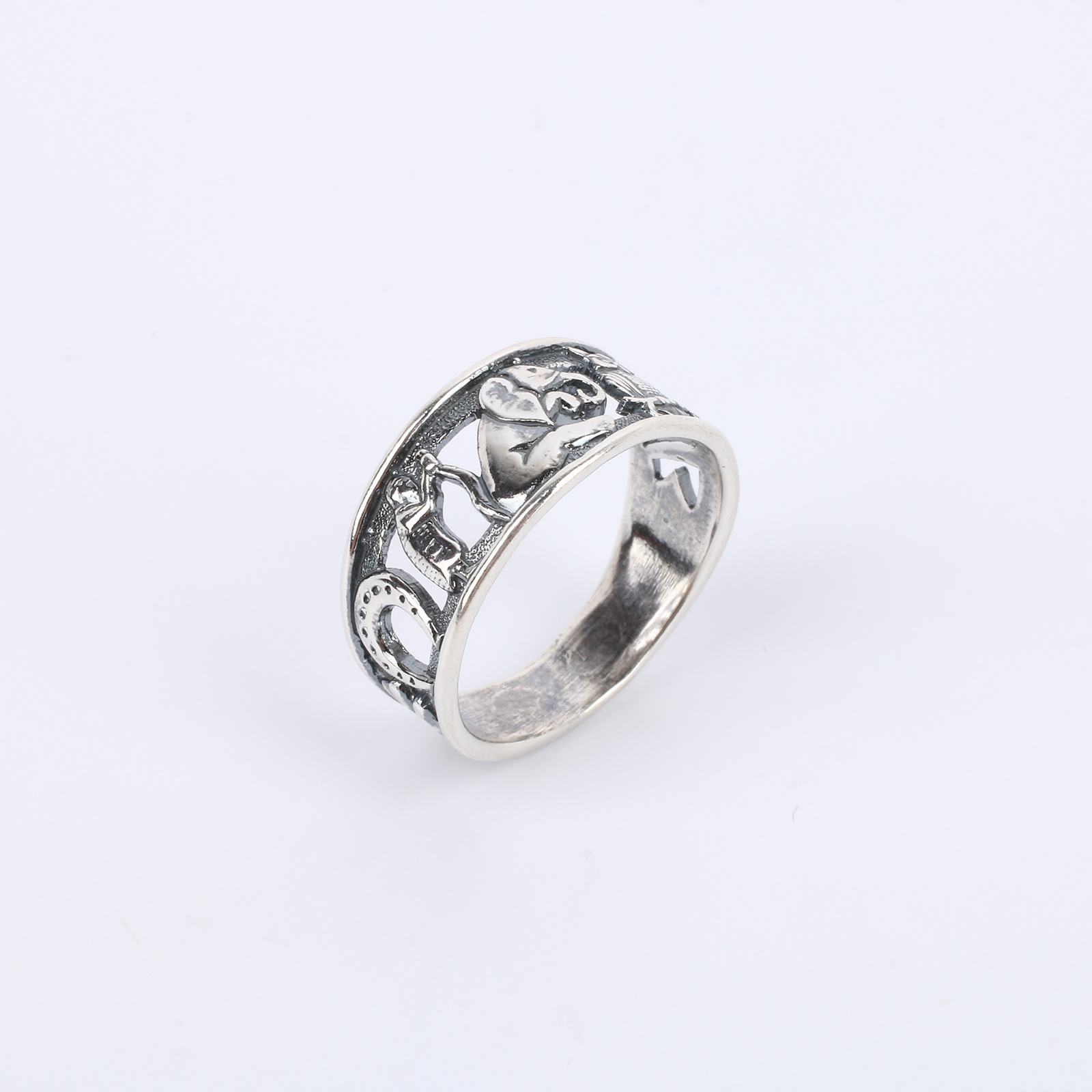 """Серебряное кольцо """"Символы счастья"""""""