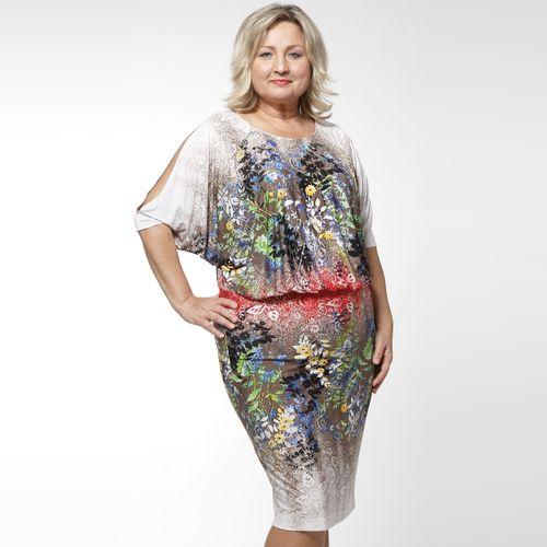 Платье трикотажное с вырезом «капля» и цветочным принтом