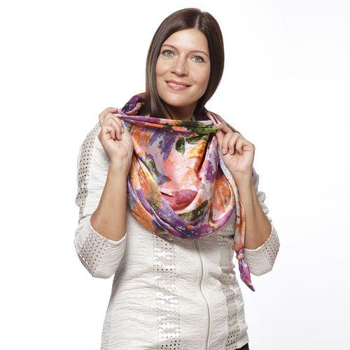 Шарф-долька с узелками и с принтом «Сочные цветы»