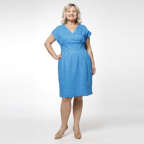 Платье приталенное льняное с V-образным вырезом