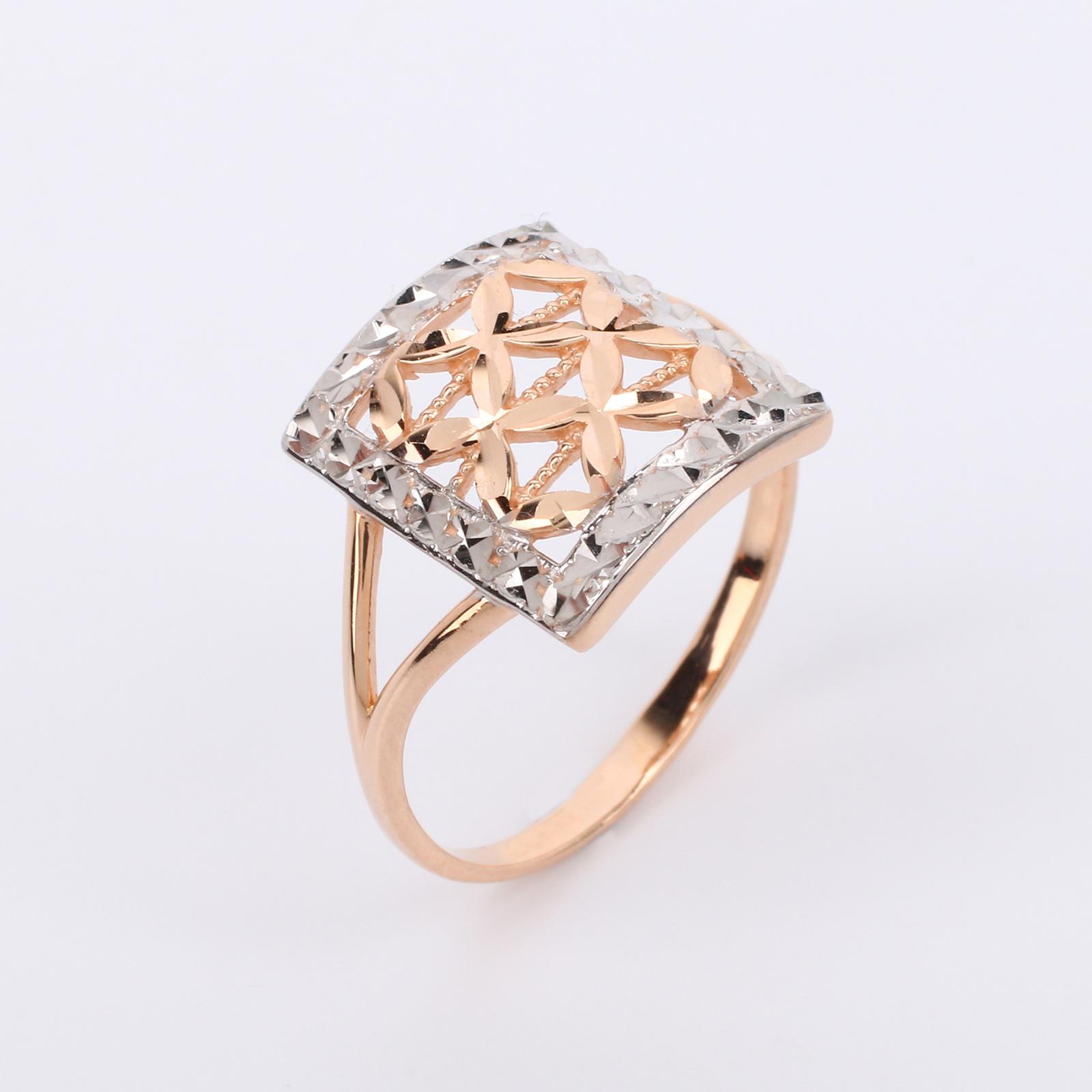 """Золотое кольцо """"Ажурная геометрия"""""""