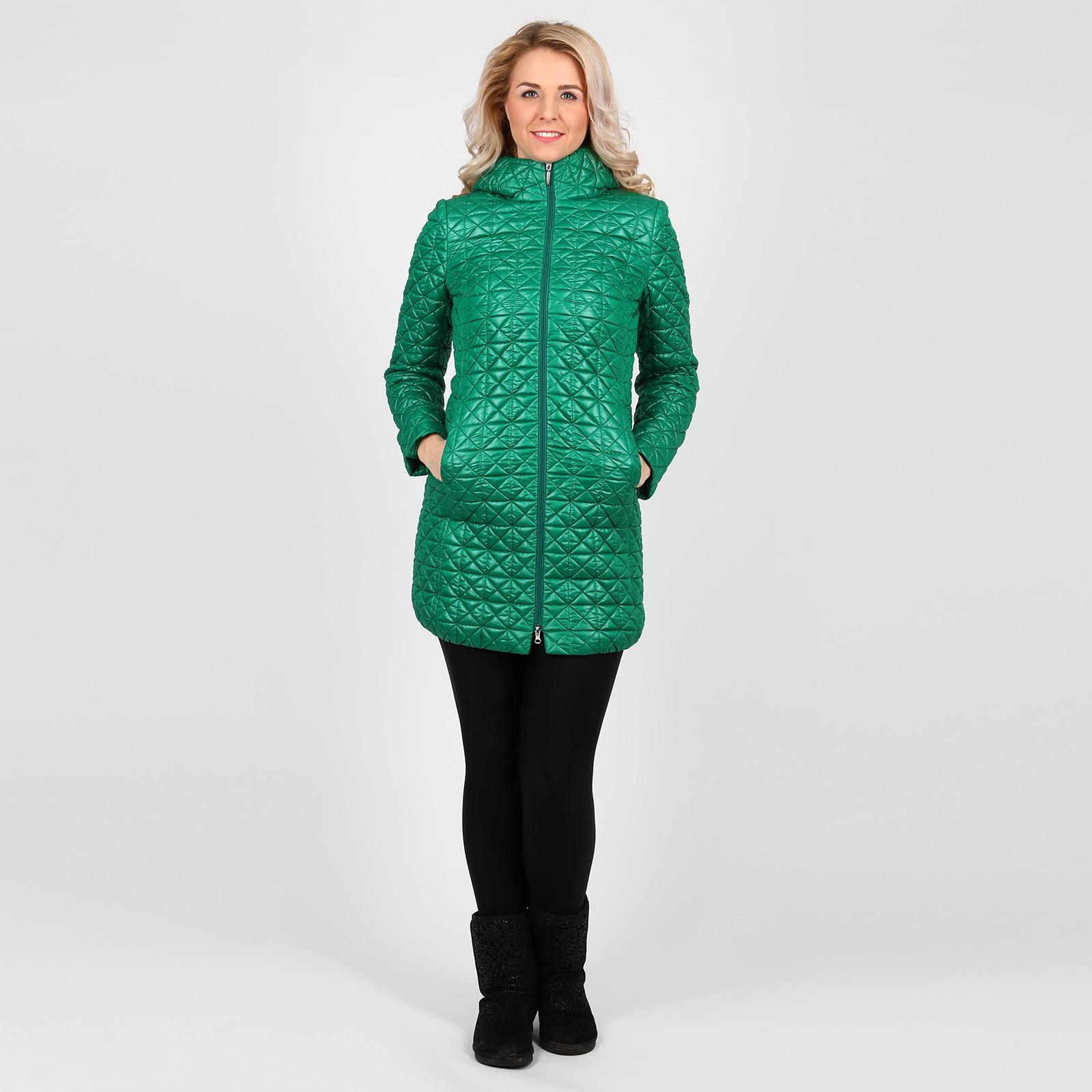 Пальто стеганое на молнии с капюшоном
