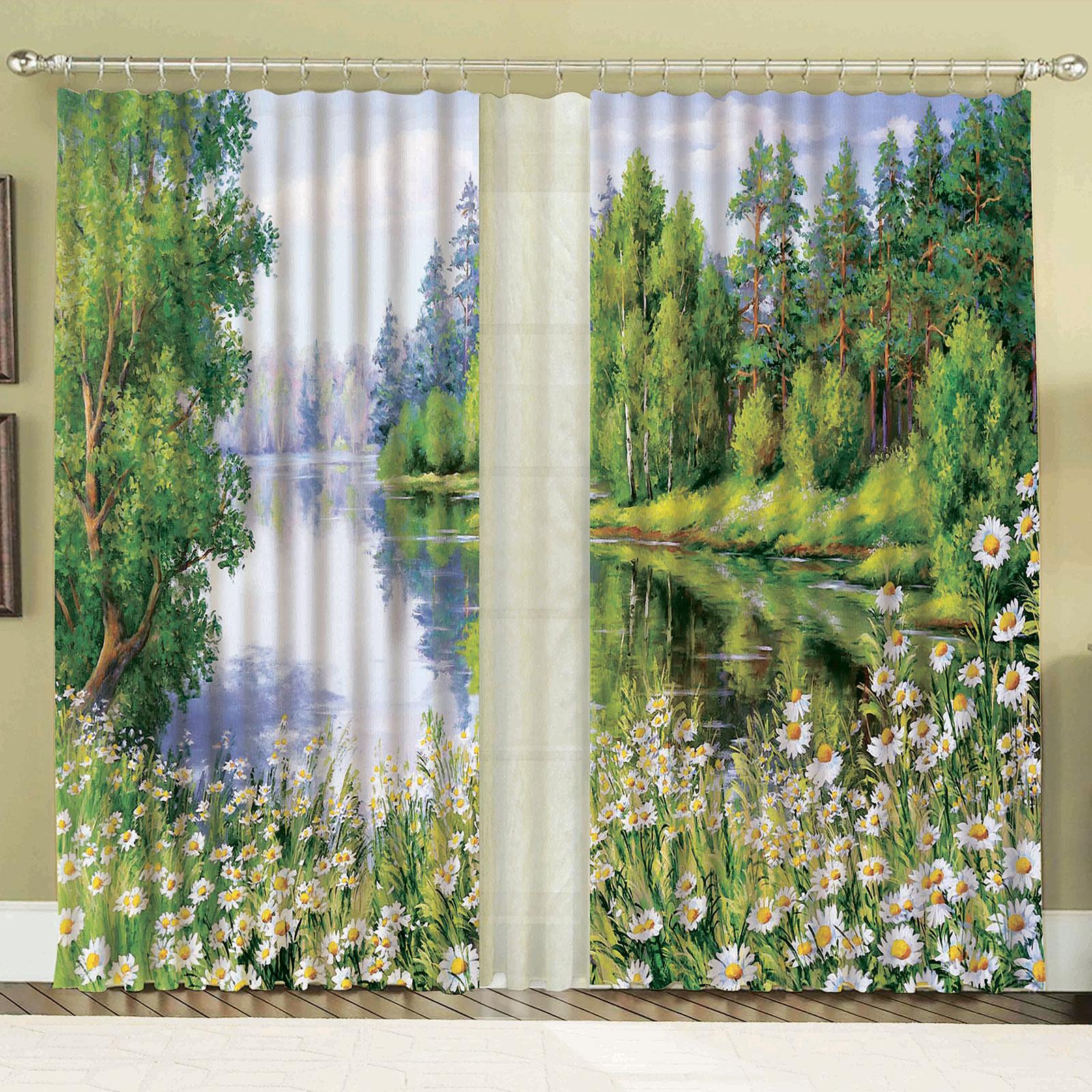 Комплект штор + тюль «Лесное озеро»