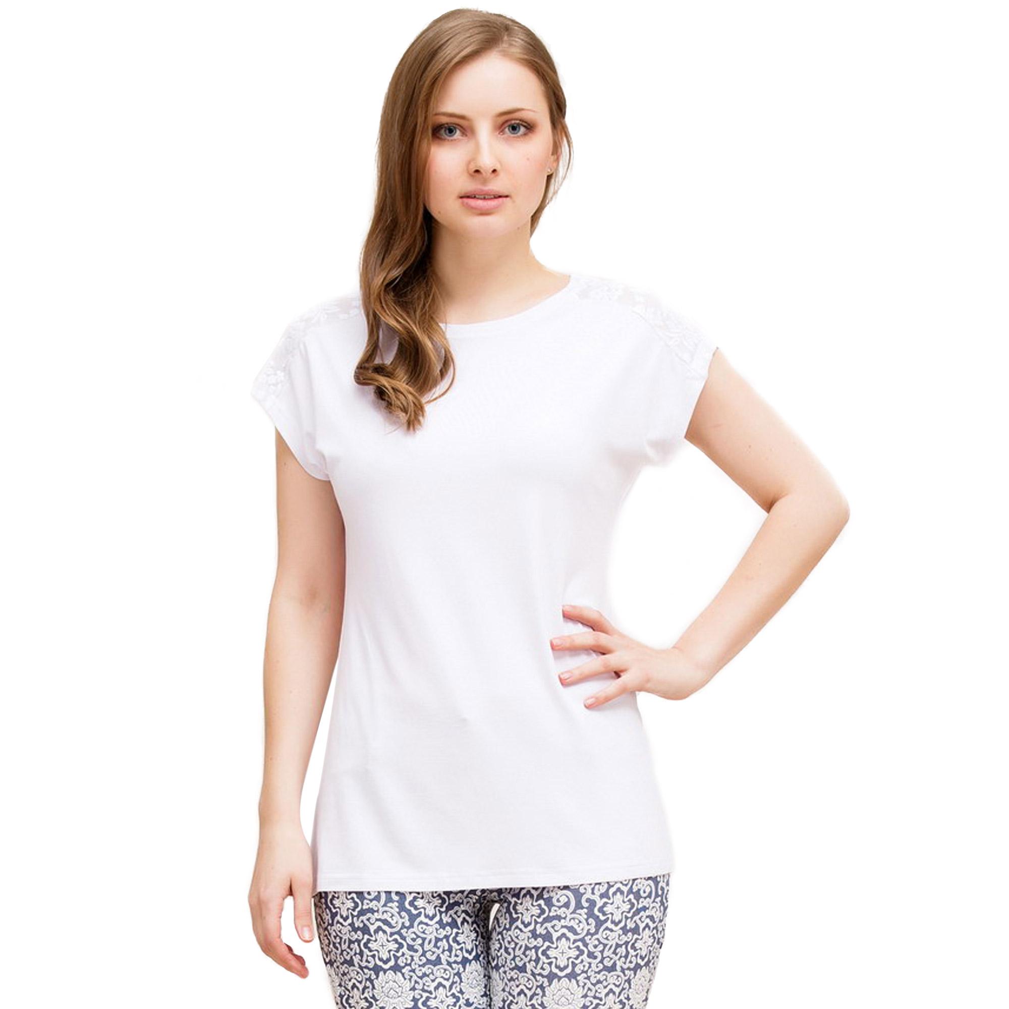 Блуза с коротким рукавом и кружевными вставками