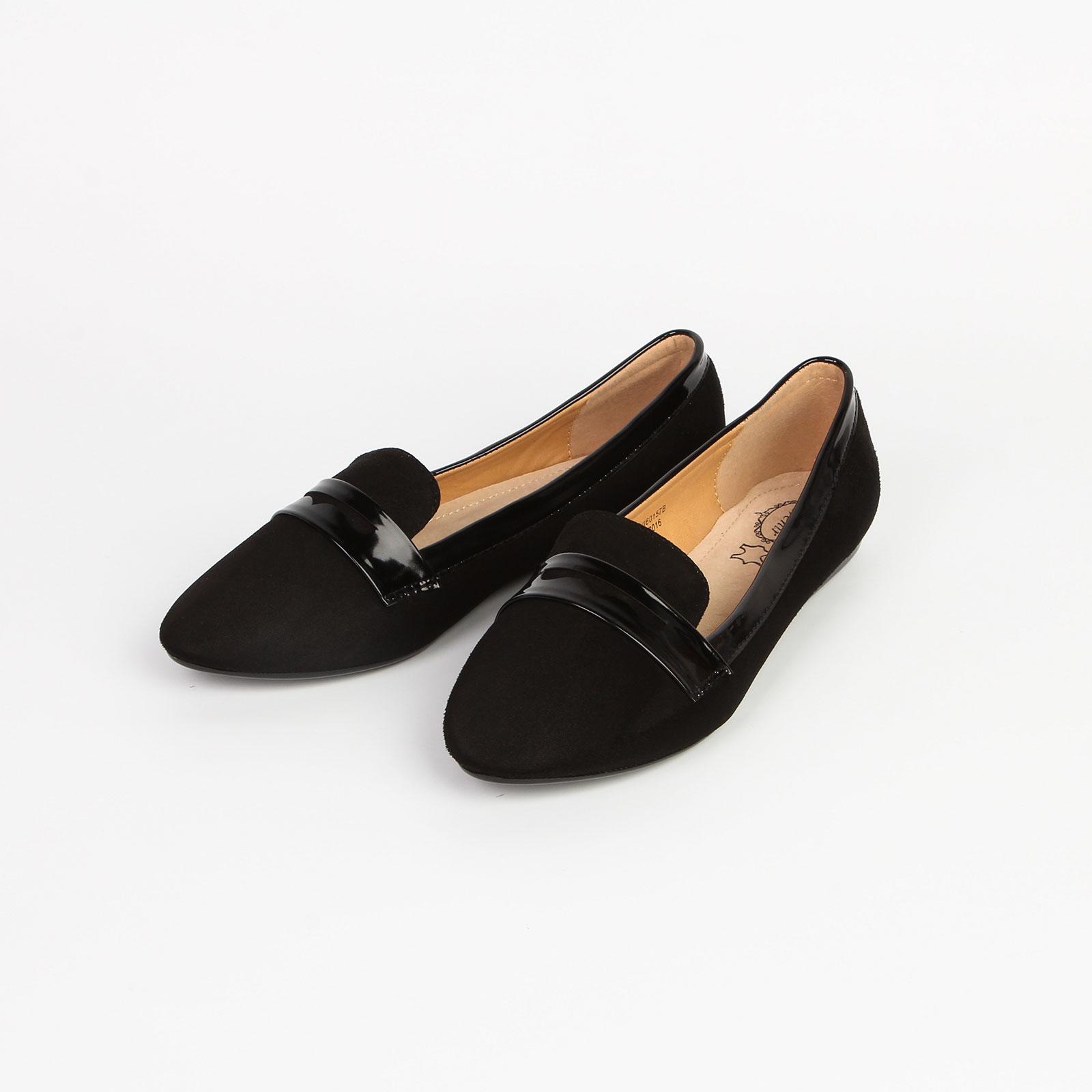 Туфли женские с лакированной вставкой