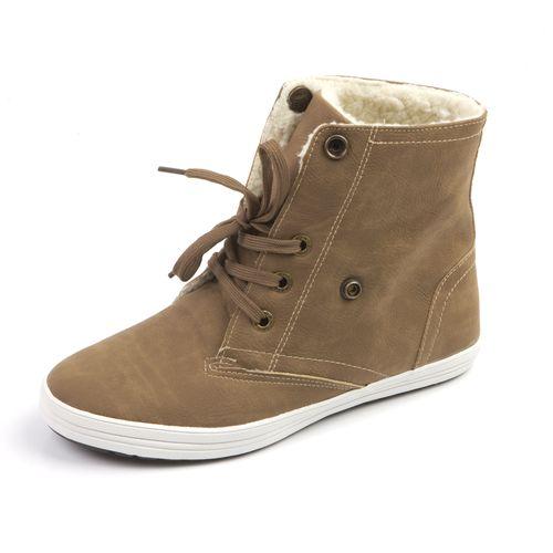 Женские ботинки на шнурках с меховым отворотом