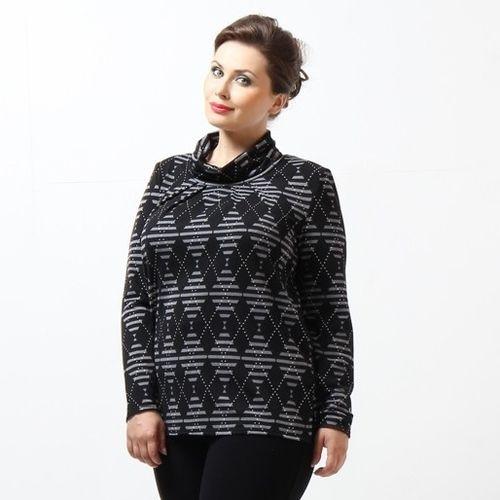 Блуза с высоким воротником и принтом «ромб»