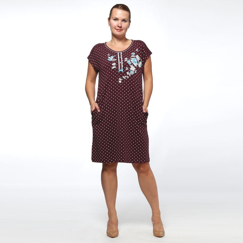 Платье домашнее с принтом «горошек» и вышивкой
