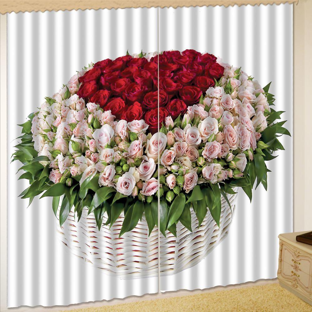 Комплект штор + тюль «Корзина роз»