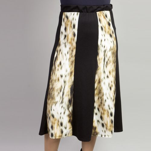 Длинная юбка на резинке с леопардовыми вставками