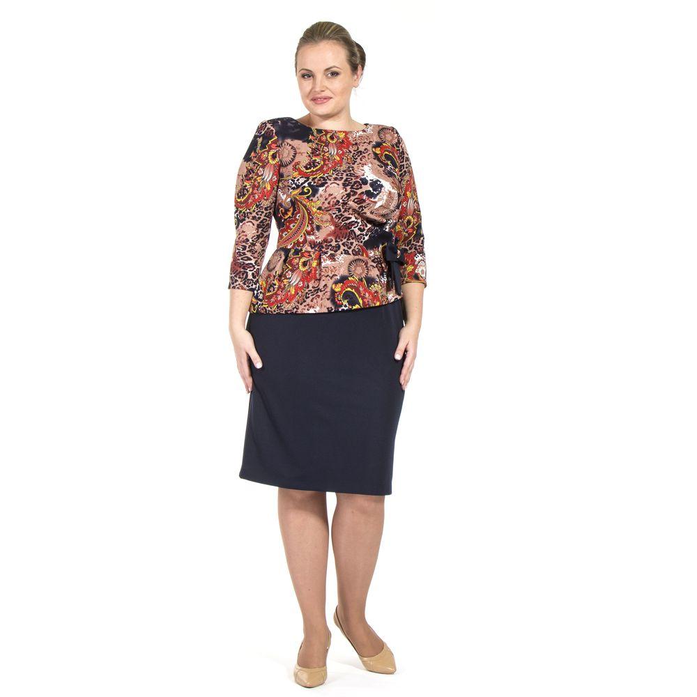 Платье-имитация двойки с украшением в виде банта