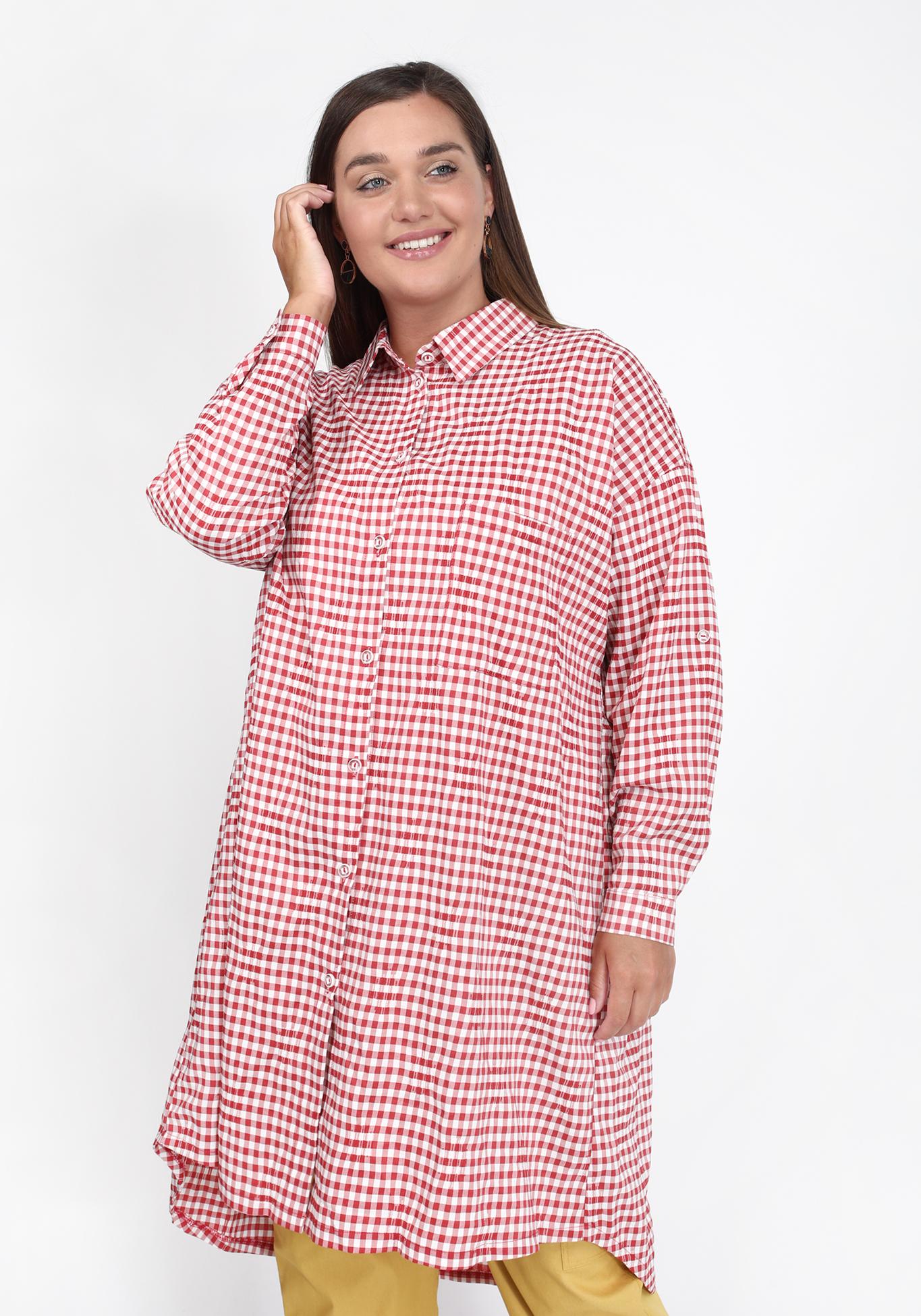 Рубашка удлиненная из хлопковой ткани