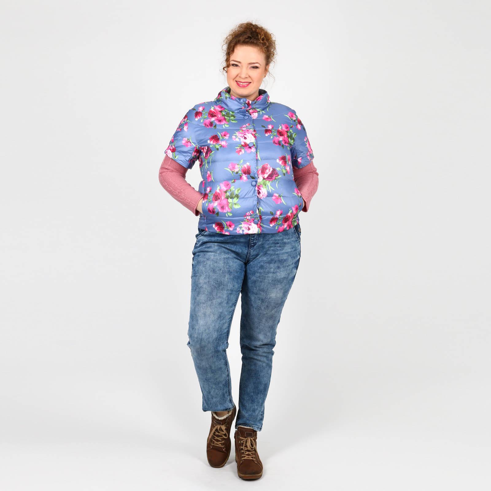Куртка с коротким рукавом и цветочным принтом