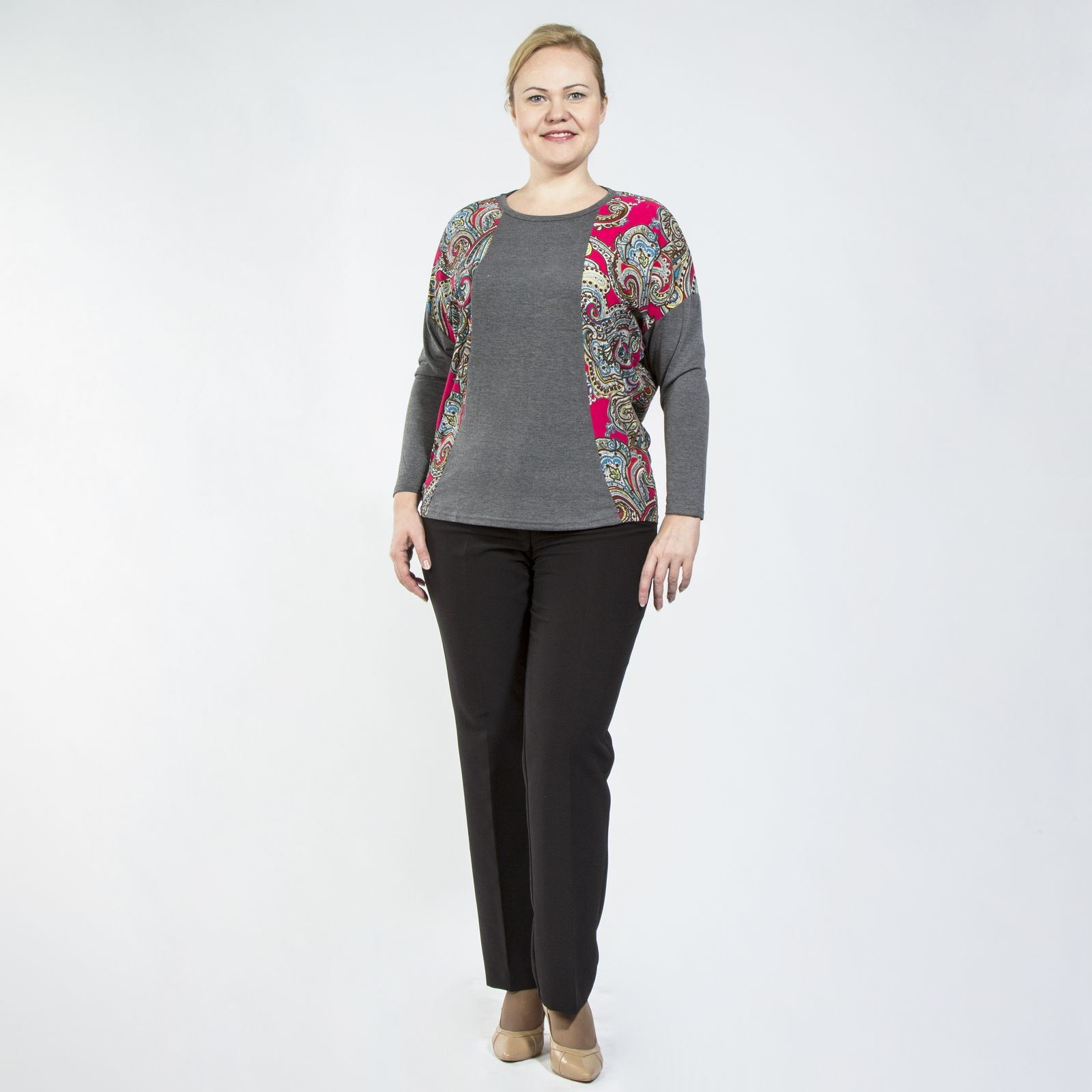 Блуза с длинным рукавом и узорным принтом