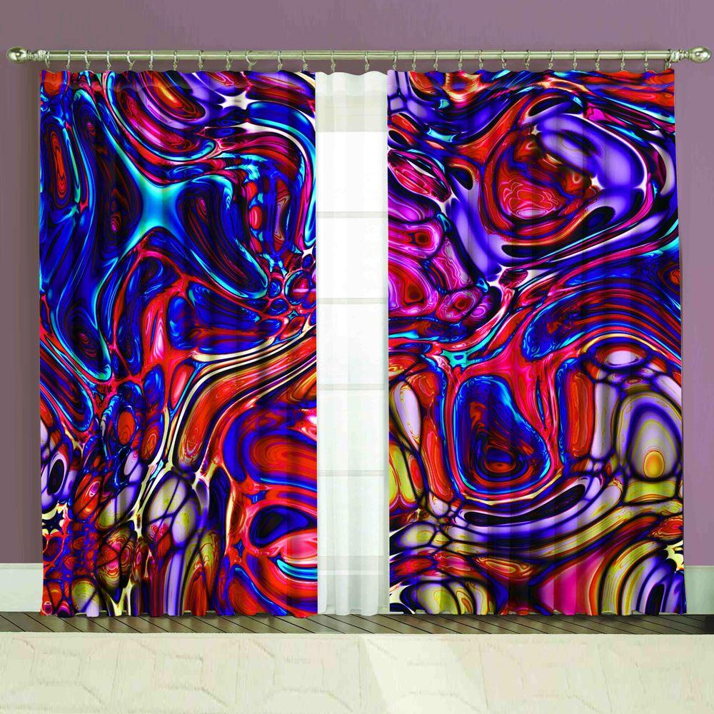 Комплект штор + тюль «Лиловый цвет»